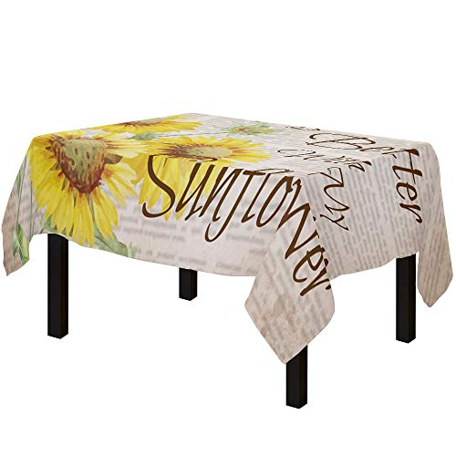 Yun Nist Tablecloths for Rectangle Table Retro Farm Yellow Sunflowers and Quotes, Cotton Linen Fabric Table Cover Tabletop Cloth for Dining Room Kitchen, Old Article