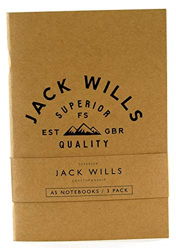 Jack Wills Navenby Notizblock, A5, liniert, Sand/Marineblau, 3 Stück