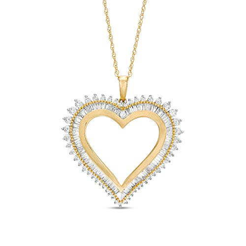 Colgante con forma de corazón de diamante D y VVS1 de corte redondo de T.W. Baguette y diamante redondo en plata 925 chapada en oro amarillo de 10 quilates