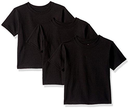 Hanes Toddler Boys' Essentials Short Sleeve T-shirt Value Pack (3-pack), Black, 4T