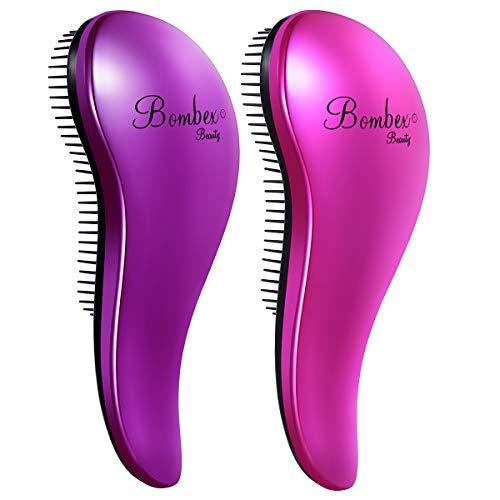 BOMBEX Detangling Brush - 2-Piece Value Set - Wet Detangling Hair Brush,Professional No Pain Detangler for Women,Men,Kids,Purple & Pink