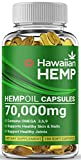 Premium Hawaiian Hemp Oil Capsules - 70,000 MG Per Bottle - Natural Pain, Stress & Anxiety Relief - Joints & Bones - Sleep & Mood Support - Maximum Value - Rich in Omega 3, 6, 9