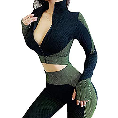 HANMAX Damen Trainingsanzug Fitness Bekleidung Fitness Sportbekleidung Outfits Sportanzug Damen 2 Stück Yoga Set