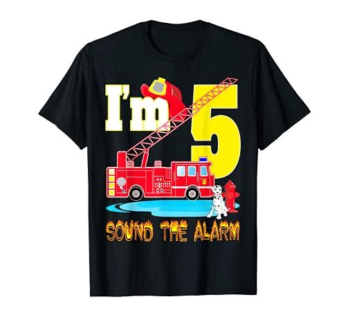 I'm 5 Sound The Alarm camión de bomberos juguete regalo fiesta de cumpleaños niño Camiseta