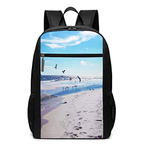 School Backpack Beach Sea Bird Gulf, College Book Bag Business Travel Daypack Casual Rucksack for Men Women Teenagers Girl Boy