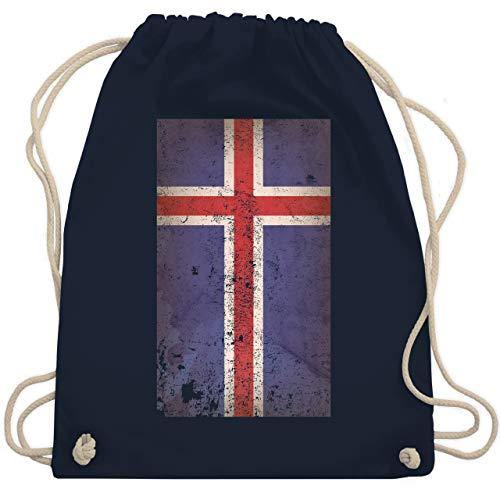 Shirtracer Fußball-Europameisterschaft 2021 - Island Flagge Vintage - Unisize - Navy Blau - island trikot - WM110 - Turnbeutel und Stoffbeutel aus Baumwolle