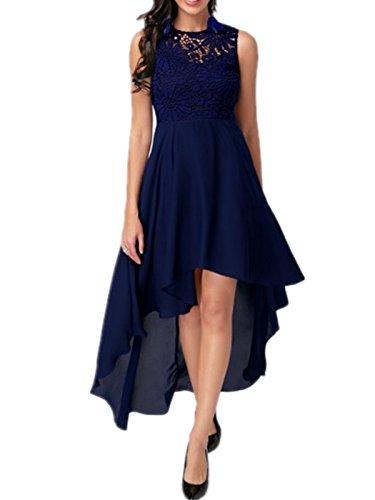 Dreamskull Damen Frauen Chiffon Günstige Abendkleider Abendmode Etuikleid Partykleid Cocktailkleid Kleid Knielang Asymmetrisch Lang Long Spitze Rückenfrei Elegant Festlich Sexy Blau (XL)