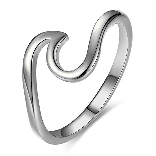 Bamos Minimalism 925 Sterling Silver Opal Wave Ring for Girls Daily Wear
