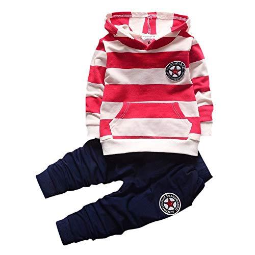 Shiningup Chándal de bebé para niños, conjunto de ropa de manga larga con capucha y rayas camiseta y pantalones para niños pequeños