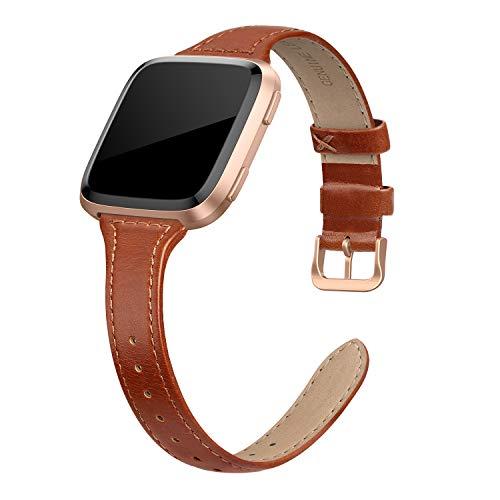 """EDIMENS Echtleder-Armband, kompatibel mit Fitbit Versa 2/Fitbit Versa Lite & SE/Fitbit Versa, dünnes Ersatz-Lederband für Damen und Herren, 5.5"""" - 7.9"""""""
