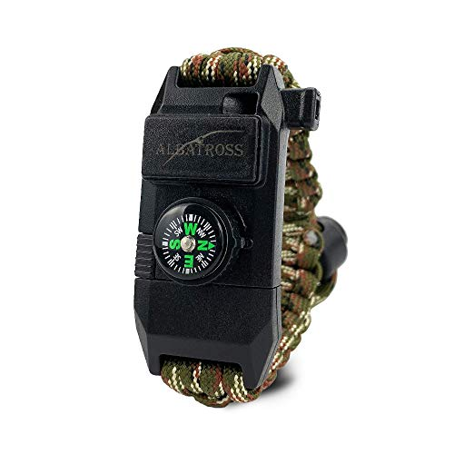 ALBATROSS Paracord Bracelet, 8-in-1 Personal Survival Kit - Outdoors Survival Included Knife, Fire Starter, Glass Breaker, Survival Whistle, Signal Mirror, Fishing Hook & String, Compass (Green)