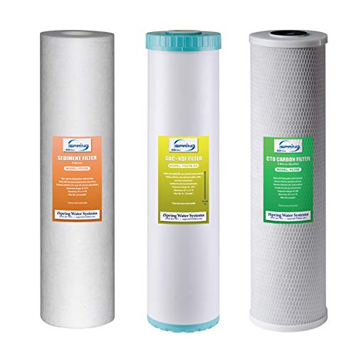 """iSpring F3WGB32BKS 4.5"""" x 20"""" 3-Stage Whole House Water Filter Set Replacement Pack with Sediment, GAC+KDF, and CTO Carbon Block Cartridges, Fits WGB32B-KS"""