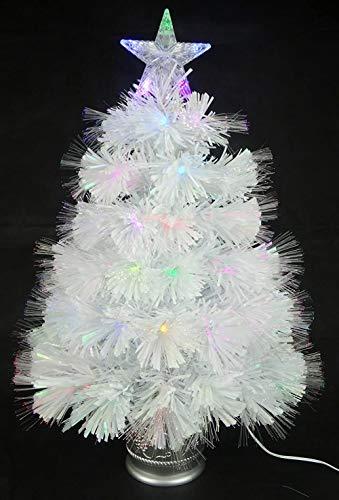 Powzz ornament Albero di Natale in Fibra Ottica di PVC Bianco Iridescente da 2 Piedi (60 cm) con luci a LED Che cambiano Colore