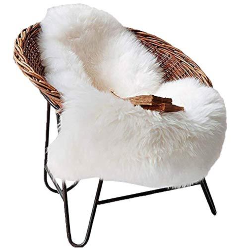 TIDWIACE® Weiß Faux Lammfell Schaffell Teppich Longhair Fell Nachahmung Wolle Bettvorleger Sofa Matte 60 x 90 cm Lammfellimitat Teppich
