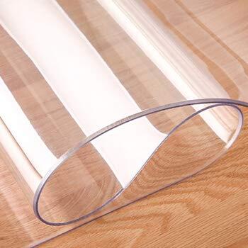 KINLO Glasklar Folie 2 mm dick, (60 * 100cm) Tischfolie transparent mit Abgerundete Ecken/Tischdecke wasserdicht Tischschutz PVC Folie Schutzfolie - Schutztischdecke Tischschutzfolie Fettdicht