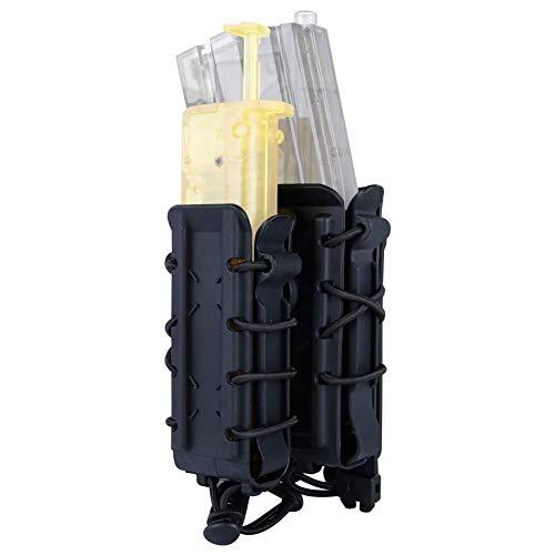 WLXW Bolsa de mag Rápido Táctica 9MM, 45APS, 5.56MM, 7.62MM Rifle Magazine Pouches Airsoft Pistol Magazine Holder Softshell Molle mag Carrier Holder,Negro