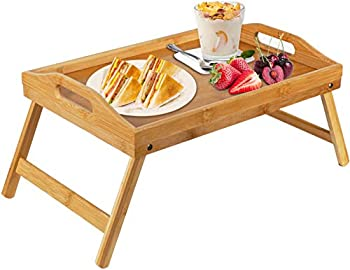 Bamboo Bed Tray Table With Foldable Legs Breakfast Tray for Sofa Bed Eating Working Used As Laptop Desk Snack Tray By Pipishell