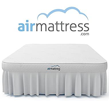 Air Mattress QUEEN size - Best Choice RAISED Inflatable Bed with Fitted Sheet and Bed Skirt - Built-in High Capacity Airbed Pump