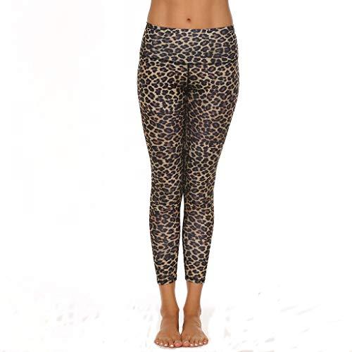 Yuwegr Damen Leggings Yoga Hose Leopard Print Sporthose Casual Jogginghose Frauen High Waist Training Laufhose Fitnesshose (S, Braun)
