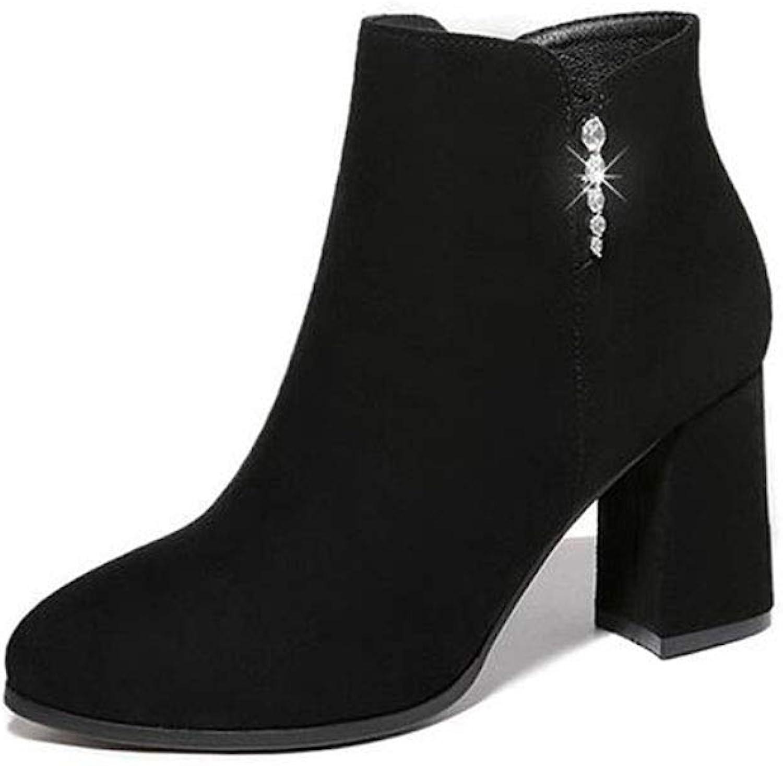 YIWU Dicke Ferse Martin Stiefel Dünne Stiefel Herbst Weibliche Stiefel Plus Samt High Heels Peeling Stiefelies (Farbe   Schwarz, Größe   EU39 UK6.5 CN40)