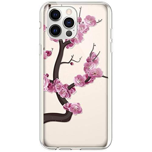 Kompatibel mit iPhone 12/12 Pro Hülle,Transparente Silikon TPU Handyhülle Crystal Clear Durchsichtig Schutzhülle Blumen Bunt Muster Ultra-dünn Weiche Stoßfest Bumper Case Tasche,Pinke Blume