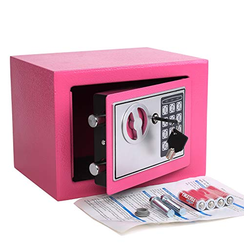 Electronic Deluxe Digital Security Safe Box Keypad Lock Home Office Hotel Business Jewelry Gun Cash Use Storage Pink