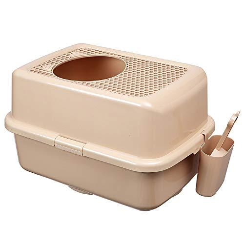 Inodoro para gatos a prueba de salpicaduras, caja totalmente cerrada, suministros para mascotas, diseño portátil, cubo de basura para gatos (color: café puro)