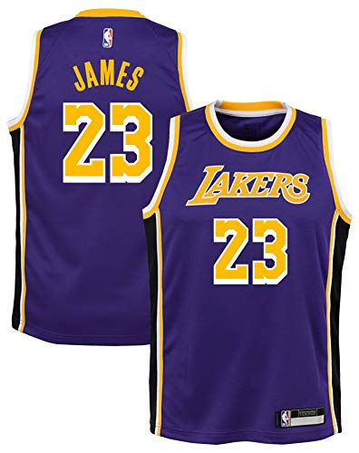 Outerstuff Lebron James Los Angeles Lakers #23 Youth Statement Purple Swingman Jersey (Youth Medium 10/12)