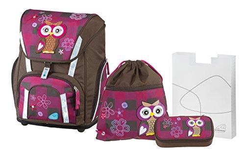 Schneiders Vienna Schulranzen Set Smart, Olivia The Owl, 4 teilig, inklusive Federbox, Sportbeutel und Heftebox, 41 cm, Dunkelrot