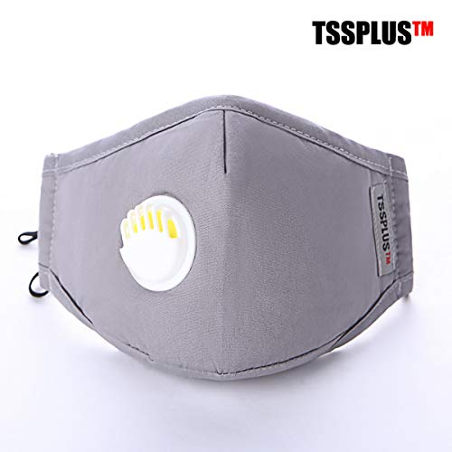 TSSPLUS PM2.5 Anti Air Pollution Reusable Washable Face Mask Respirator 2 Filters (Random color)