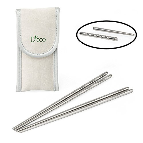 Stainless Steel Chopsticks- Twist Apart Reusable Travel Chopsticks with Pouch by D'Eco (2 Sets)