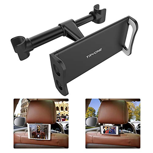 Tryone Soporte Tablet Coche, Soporte Reposacabezas Coche - Soporte para Tablet Móvil iPad/Samsung Galaxy Tabs/Amazon Kindle Fire HD Otros Dispositivos de 4.7-10.5 Pulgadas (Negro)