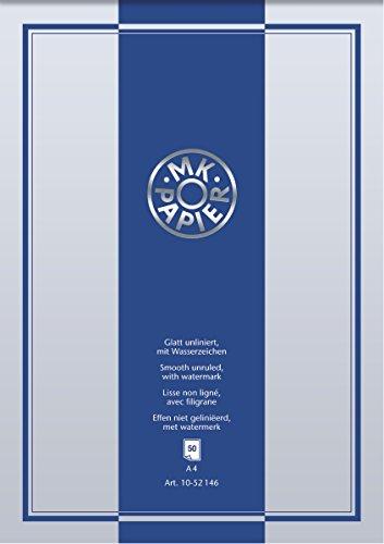 BRUNNEN 1052146 Briefpapierblock MK, Wasserzeichen vorhanden (A4, unliniert, 50 Blatt) weiß