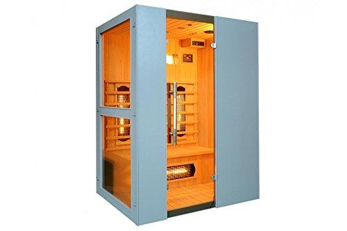 Levi 3 Fullspektrum 3 Personen Sauna Infrarotkabine & Infrarotsauna / 2400 Watt/Infrarot Wärmekabine und viele Extras (Strahler IR-A, IR-B und IR-C) FULL SPEKTRUM
