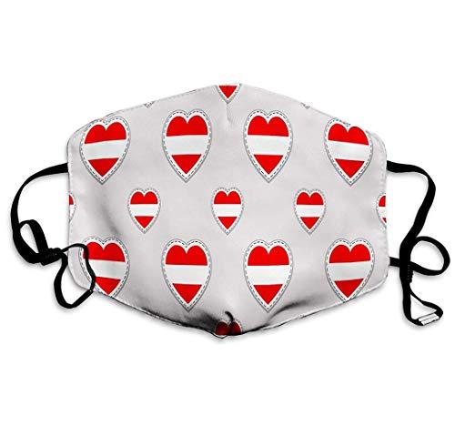 TABUE Gesichtsschutz Mundschutz Österreich Österreichische Flagge Aufkleber Liebesherzen Symbole Gut waschbar - Atemschutz Gesundheit Sicherheit Winddicht
