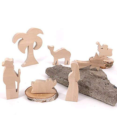 Maria, Josef und Krippe - handgefertigte Krippenfiguren aus Holz - Weihnachtsgeschenk, Nikolaus