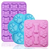 FineGood Stampi per cioccolato in silicone con osso di zampa di cane da 3 pezzi, stampo in silicone per cera fusa stampo da forno in silicone per cani