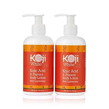 Koji White Kojic Acid & Papaya Body Lotion Skin Brightening Gift Box Set 2-Pack for Women - Nourishing Skin Radiance Rejuvenate Skin Cells - Quick Absorbing - 8.45 Fl Oz Bottle