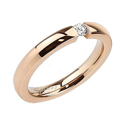 Piersando Damen Ring Verlobungsring Edelstahl mit weißem Kristall Stein in Diamant Form Damenring Trauring Rosegold Rose Gold Vergoldet Größe 58 (18.5)