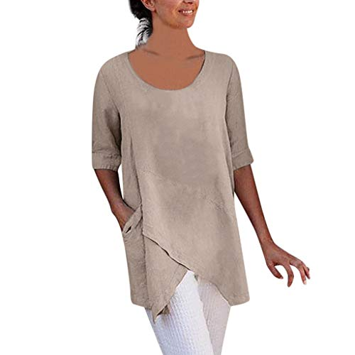 OverDose Damen Casual Übergröße Unregelmäßige Mode Lose Leinen Kurzarm Shirt Vintage Bluse Fest Hemd Lang Tank Tops T-Shirt Freizeit Oberteile Tees (EU-38/CN-S, F-Khaki)