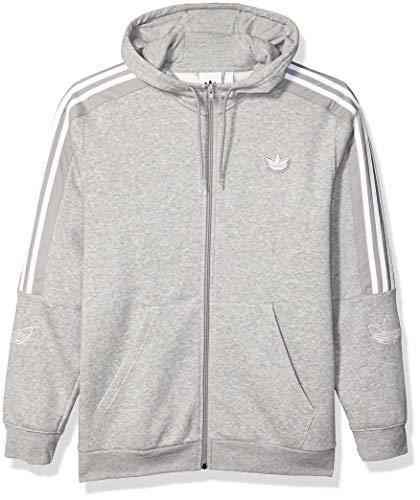 adidas Originals Herren Outline Fleece Full-Zip Hooded Sweatshirt Jacke, Medium Grau meliert