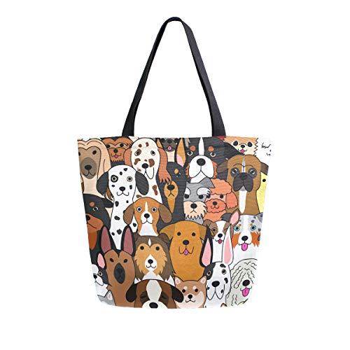 ALAZA Large Canvas Tote Bag Cute Doodle Dog Print Animal Shopping Shoulder Handbag with Small Zippered Pocket
