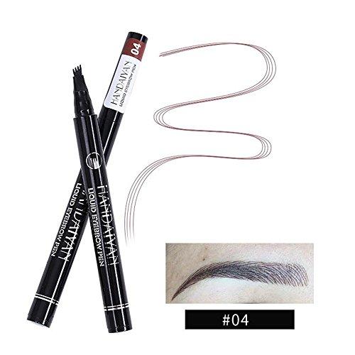 Kobwa - Lápiz de cejas con cuatro puntas de larga duración, resistente al agua, para cejas, cejas, cejas, gel, para maquillaje de ojos