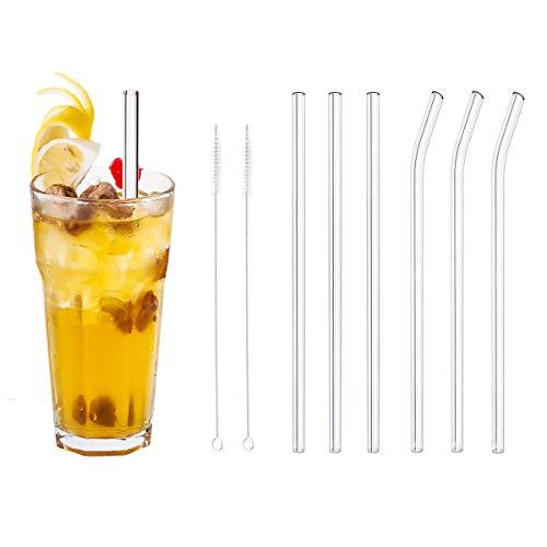 RMAN 23cm glazen rietjes herbruikbaar rietje van hoogwaardig laboratoriumglas, gezond, milieuvriendelijk, vrij van BPA voor cocktail, smoothies, sap enz. - transparant, 6 stuks + 2 reinigingsborstels