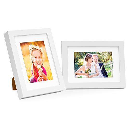 Photolini Set di Due cornici per Foto Moderno in Legno Massiccio Bianco 10x15 cm con passepartout 7x9 cm/portafoto/cornici per Ritratti/cornici intercambiabili