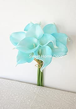 Sweet Home Deco Latex Real Touch 15  Artificial Calla Lily 10 Stems Flower Bouquet for Home/ Wedding  Teal