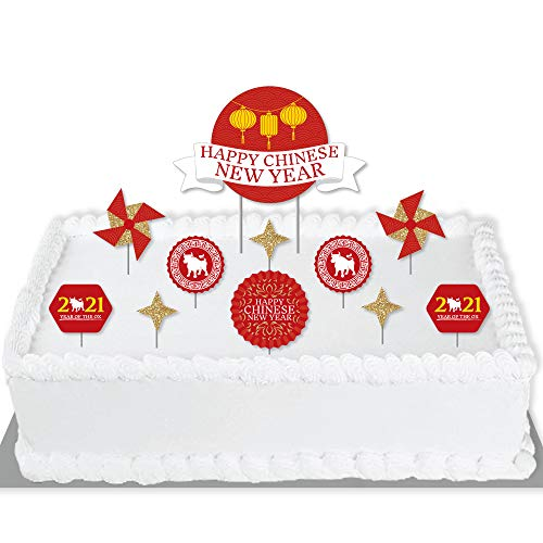 Big Dot of Happiness Chinese New Year - 2020 Year of the Rat Party Cake Decorating Kit - Cake Topper Set - 11 Pieces