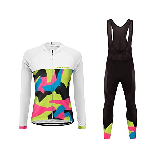 BurningBikewear Uglyfrog Conjunto Ciclismo Moda Mujer Invierno/Otoño 3D Cojín Pantalones Larga Thermo Lana Malliot de Ciclismo Ropa de Ciclista Bodies Anti-frío ZRWX04