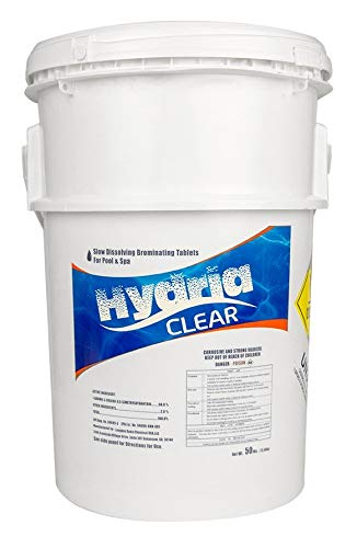 Hydria Clear 1 Inch Bromine Tabs | 50 Pound Bucket | Spa and Pool Supplies