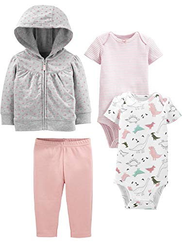 Simple Joys by Carter's Girls' 4-Piece Fleece Jacket, Pant, and Bodysuit Set, Pink Dino, 6-9 Months
